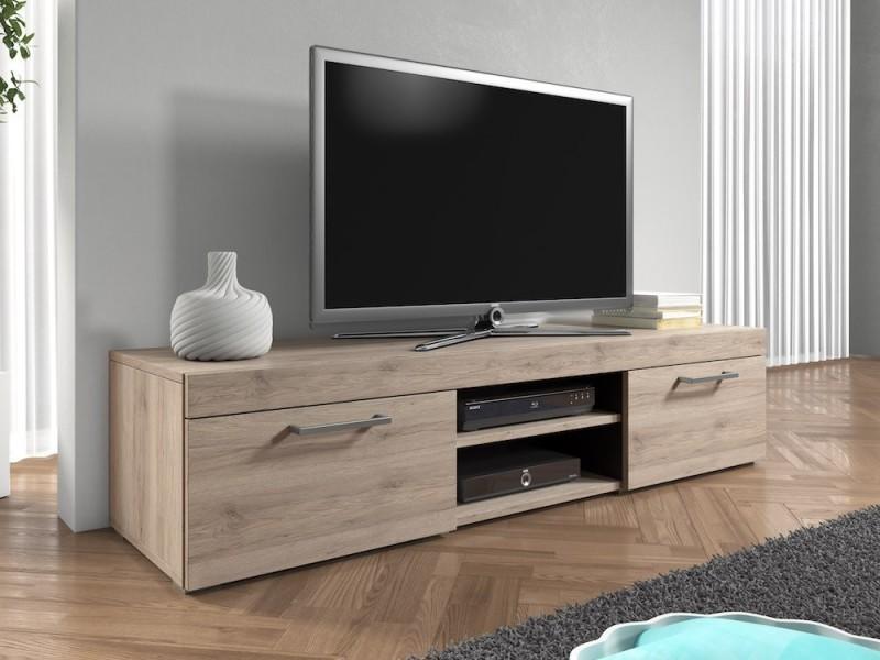 Meuble tv 140 cm en mdf aspect chêne mat