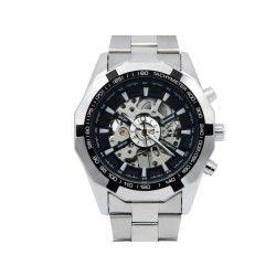Montre-bracelet mécanique en acier inoxydable avec cadran creux lumineux