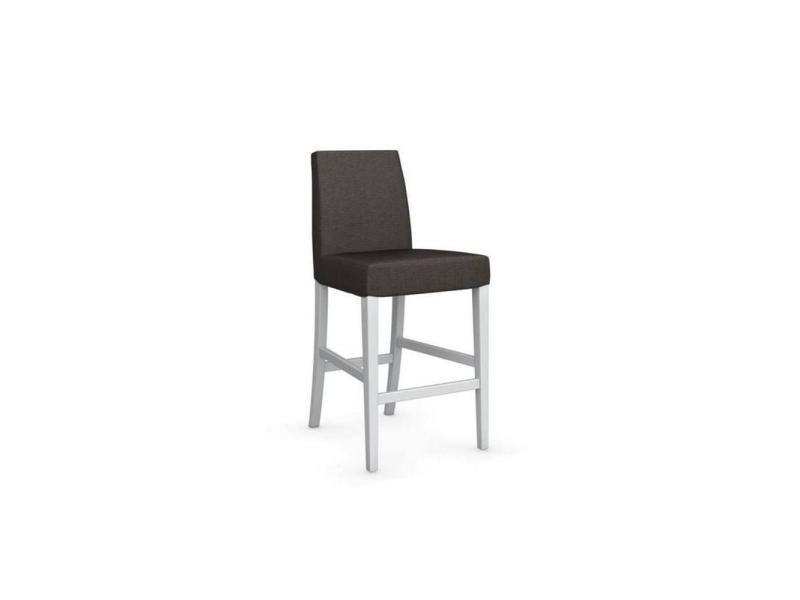 Chaise de bar latina piétement hêtre laqué blanc assise tissu blanc 20100839334