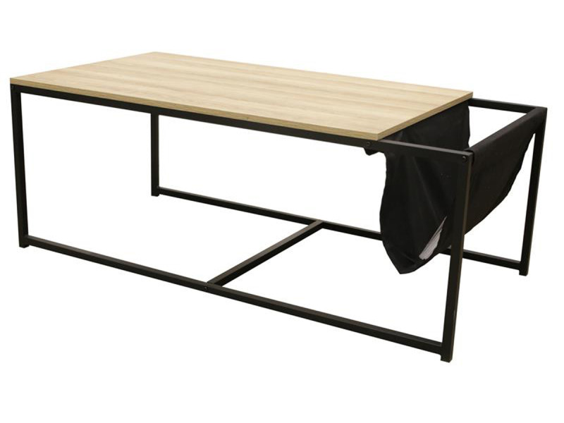 Table basse avec porte-revues coloris naturel - 112 x 60 x 45 cm -pegane-