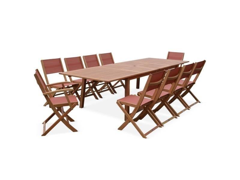 Salon de jardin en bois extensible - almeria - grande table ...