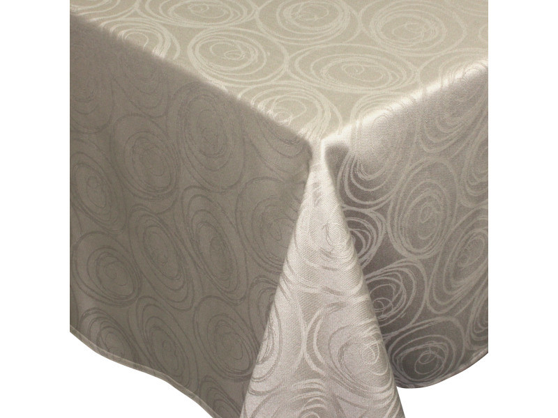 Nappe rectangle 150x300 cm jacquard 100% coton spirale taupe