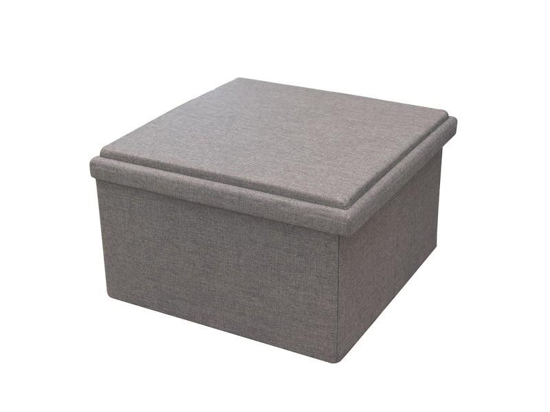 Coffre pouf pliable table tissu gris