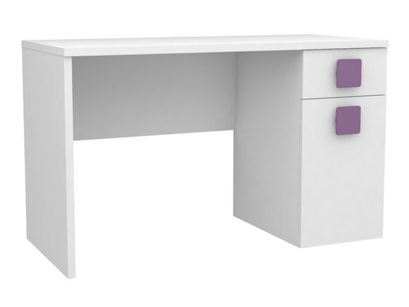 Bureau enfant coloris blanc aubergine dim : l 120 x p 54 x h 73