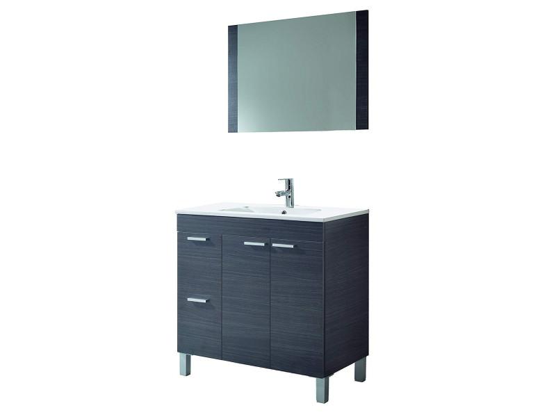 Meuble sous-vasque avec 2 portes abattante et 2 tiroirs + 1 miroir coloris gris cendré - 80 x 80 x 45 cm -pegane- PEGANE