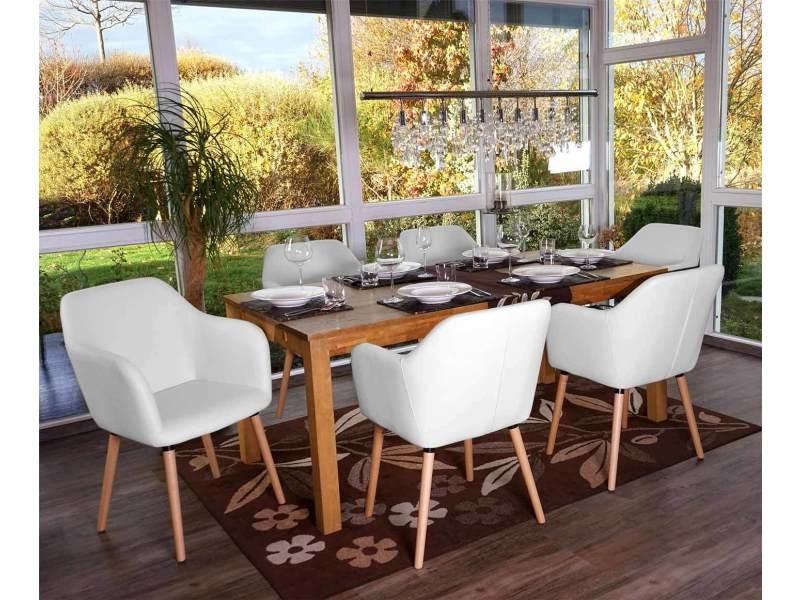 6x chaise de séjour / salle à manger malmö t381 style rétro des années 50 ~ similicuir, blanc