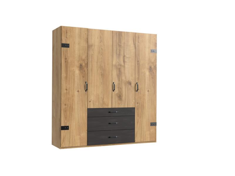 Armoire design 4 portes imitation chêne poutre rechampis raw steel - l200 x h216 x p58 cm -pegane-