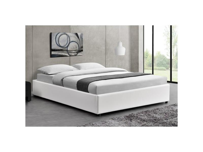 lit kennington structure de lit blanc avec coffre de rangement int gr 160x200 cm conforama. Black Bedroom Furniture Sets. Home Design Ideas