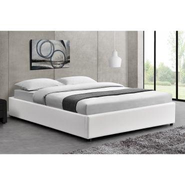lit kennington - structure de lit blanc avec coffre de rangement