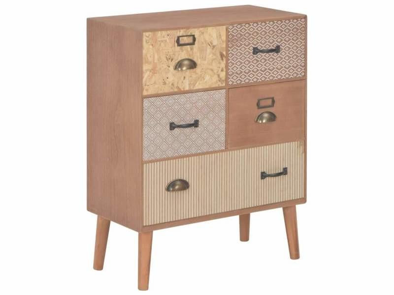 Buffet bahut armoire console meuble de rangement avec 5 tiroirs marron 78 cm mdf helloshop26 4402284