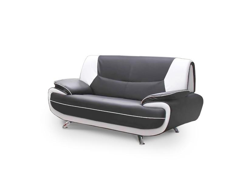 Muza - canapé design 2 places en simili cuir gris et blanc