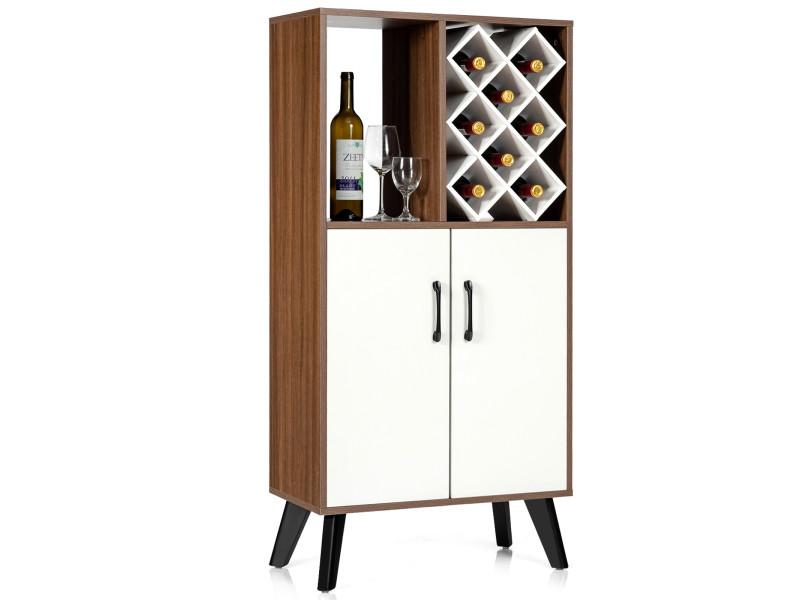 Giantex buffet haut scandinave avec 8 compartiments pour bouteilles, 1 etagère et 2 portes, commode de rangement avec pieds en bois massif pour cuisine, salle à manger, salon