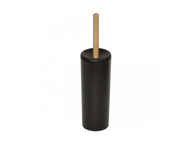 Balai brosse wc en plastique noir et manche bois