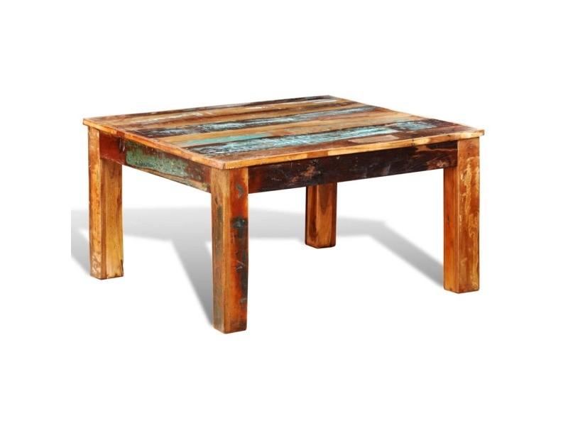 Vidaxl table basse carrée bois de récupération 240959