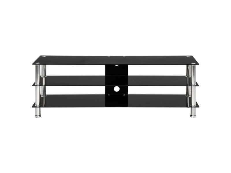 Vidaxl meuble tv noir 120 x 40 x 40 cm verre trempé 280091