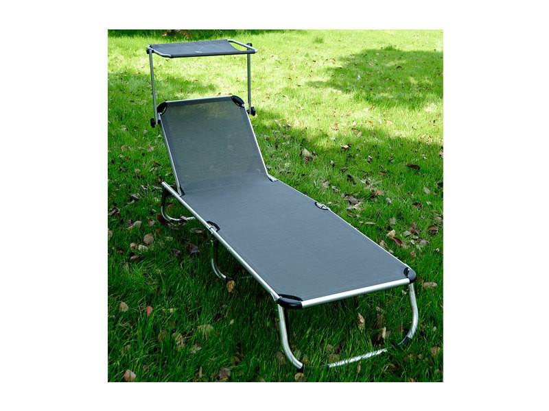 Bain de soleil aluminium pliable good lit de plage for Transat conforama