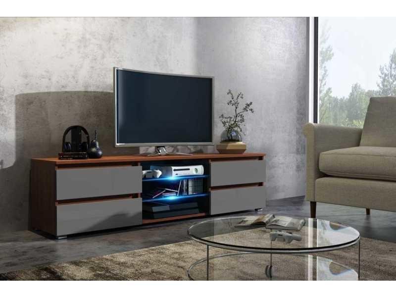 Meuble tv 150 cm aspect noyer , gris laqué + led rgb