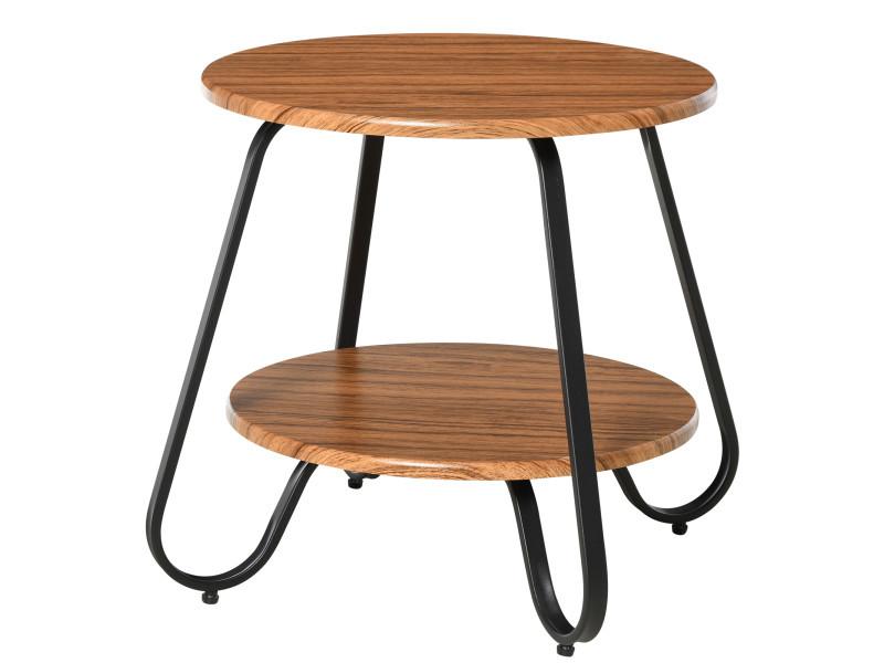 Table basse table d'appoint guéridon bout de canapé design néo-rétro 2 niveaux panneaux particules bois noyer métal noir
