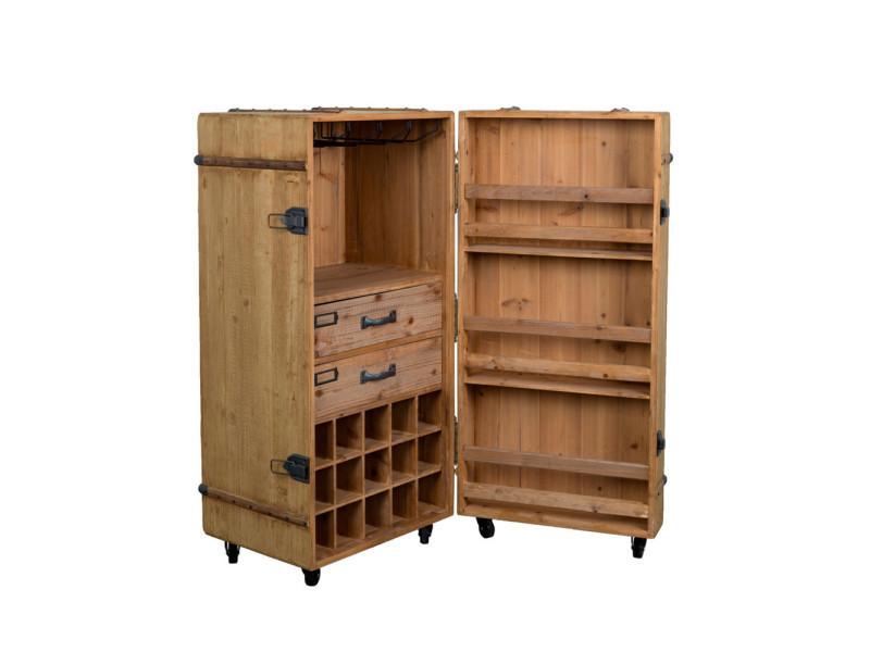 meuble bar vin vintage lico dutchbone couleur naturel 4100020 conforama. Black Bedroom Furniture Sets. Home Design Ideas