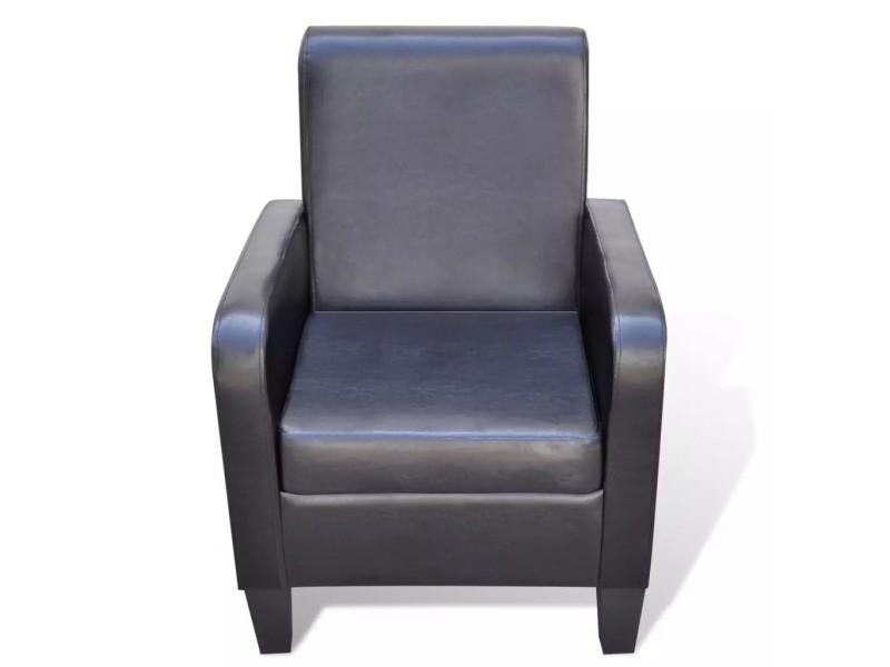Icaverne - fauteuils club, fauteuils inclinables et chauffeuses lits famille fauteuil cuir synthétique noir