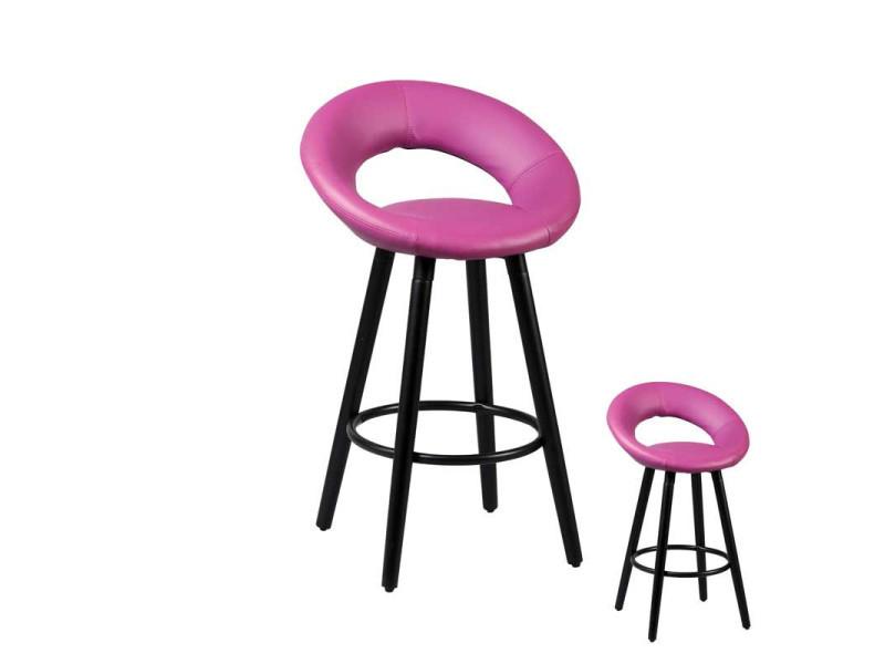 Duo de tabourets de bar violet - pop - l 53 x l 46 x h 86 - neuf