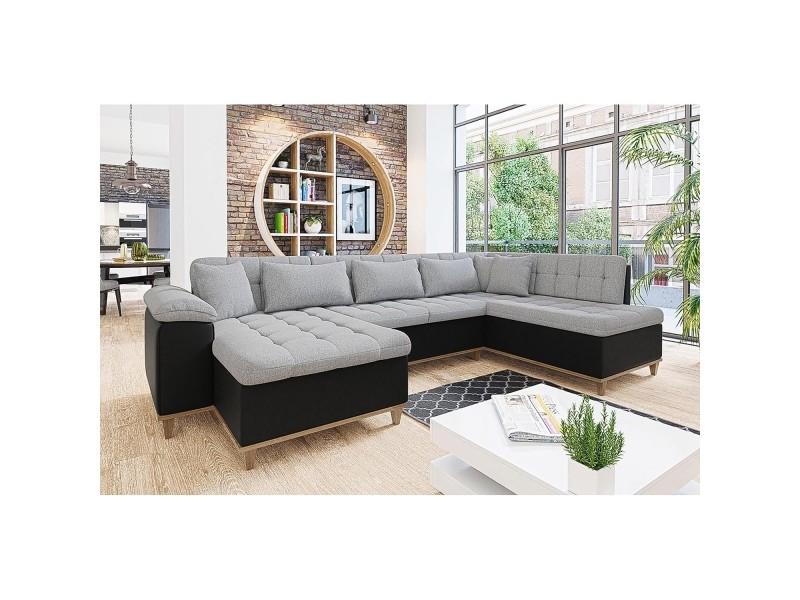 Mina - canapé d'angle convertible en tissu gris et noir - angle gauche