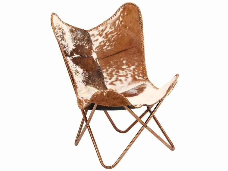 Fauteuil chaise siège lounge design club sofa salon cuir véritable de chèvre marron/blanc forme de papillon helloshop26 1102145/3