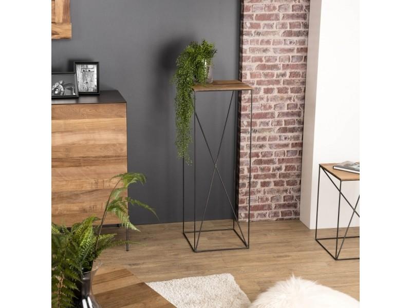 Table d'appoint bois grand modèle teck recyclé et métal