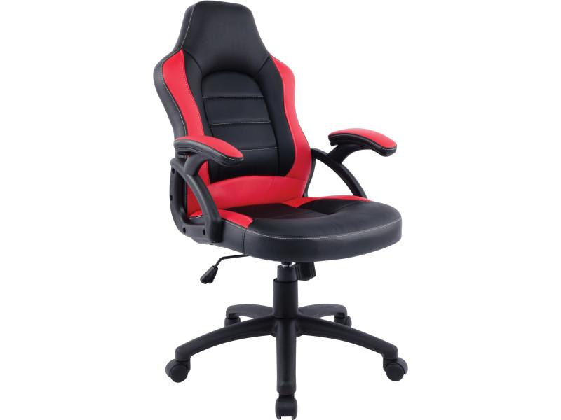 Chaise de bureau gamer réglable en hauteur avec accoudoirs en pu