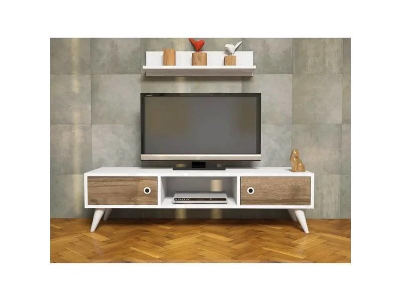 Meuble tv avec étagère aspen - 130 x 35 cm - blanc et marron