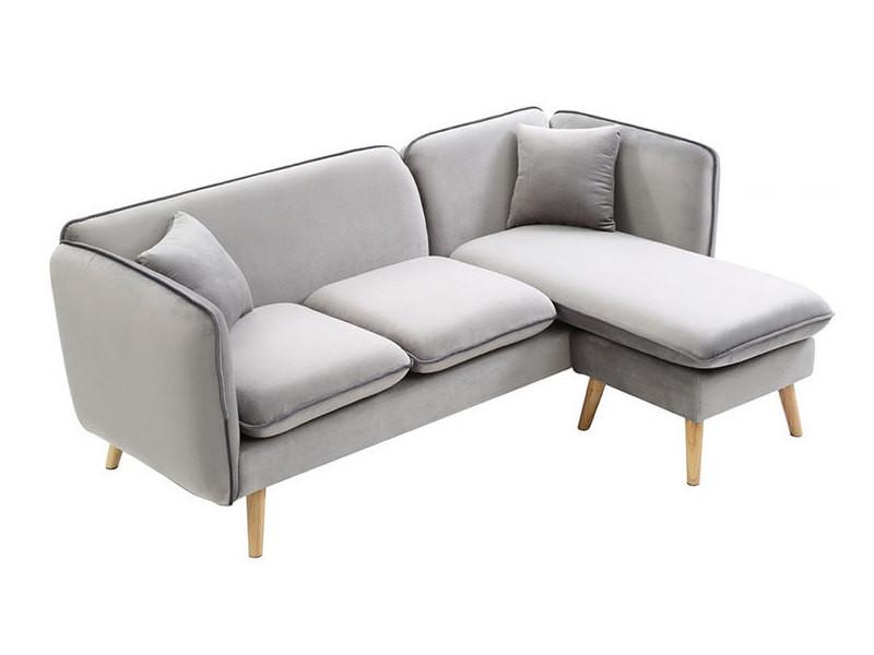 canap avec m ridienne modulable en tissu gris clair conforama. Black Bedroom Furniture Sets. Home Design Ideas