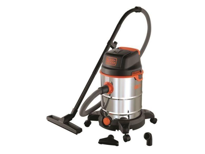 Aspirateur industriel black & decker aspirateur eau et poussiere sur roues 1600 w cuve en inox 30 l