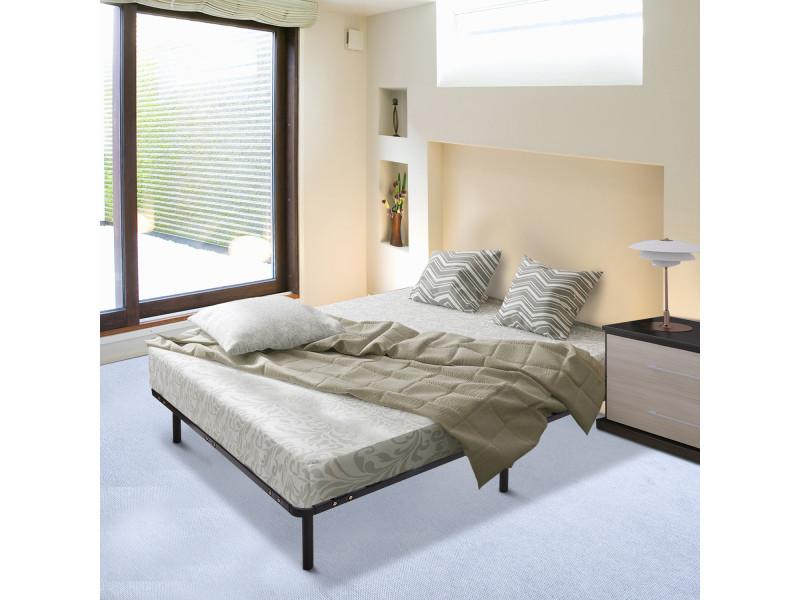 sommier lattes sur pieds 200l x 150l cm lit double traverse centrale 26 lattes bois massif. Black Bedroom Furniture Sets. Home Design Ideas