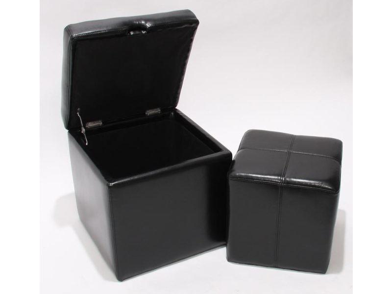 Lot de 2 tabourets onex, pouf + cube-coffre, cuir, noir
