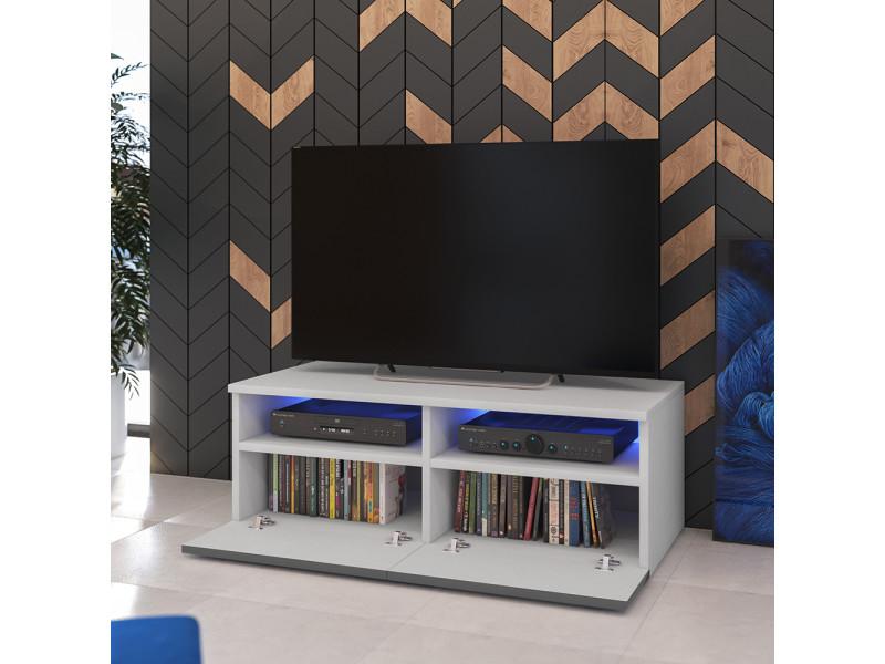 Meuble tv siena avec led cm blanc mat gris brillant