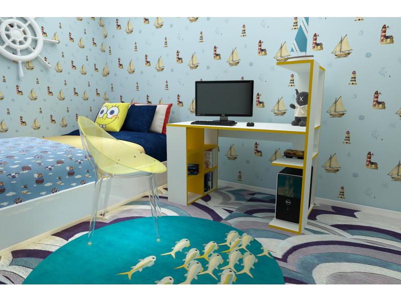 Bureau design graceful blanc et jaune vente de bureau conforama