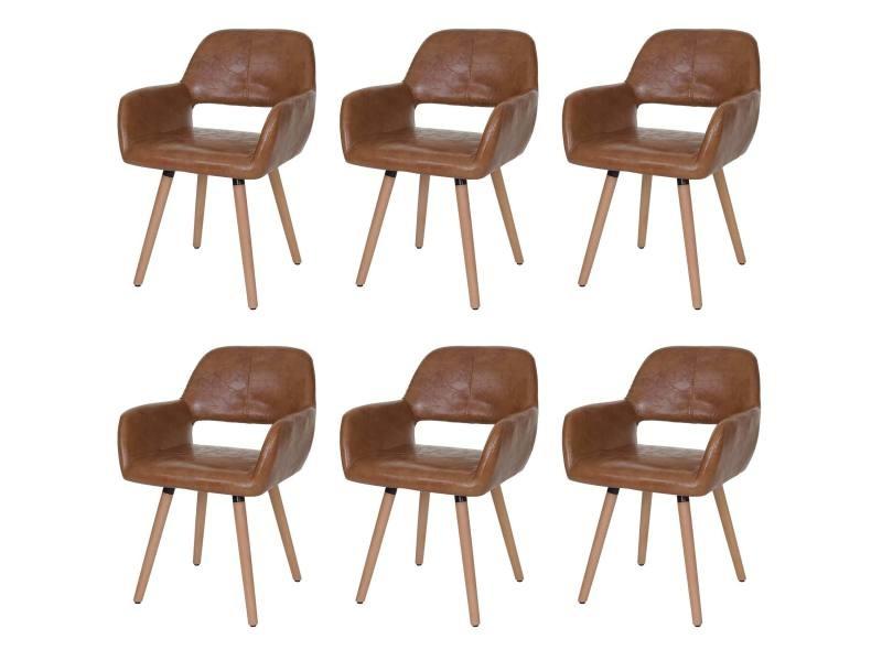 6x chaise de salle à manger altena ii, fauteuil, design rétro des années 50 ~ similicuir, aspect daim