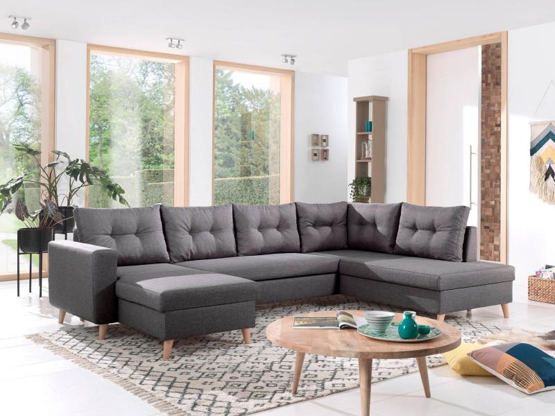 Nordic - canapé scandinave d'angle droite panoramique convertible en tissu - 299x86x188cm couleur - gris foncé