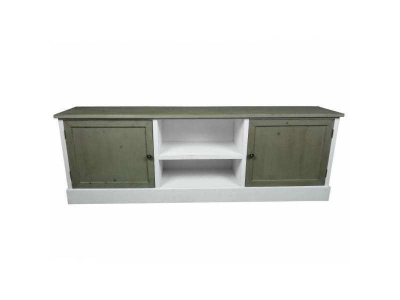 Meuble tv télé console de salon grand meuble bas de rangement etagères placards en bois patiné blanc 32,5x53x155cm