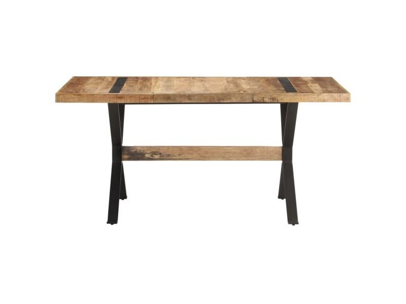 Vidaxl table de salle à manger 160x80x76 cm bois de manguier brut 321608