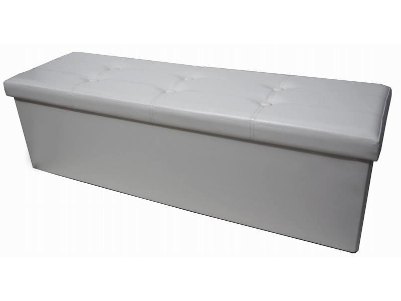 Storage ottoman simili cuir rabattable blanc