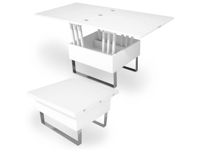Zoe - table basse multifonction relevable laquée blanc