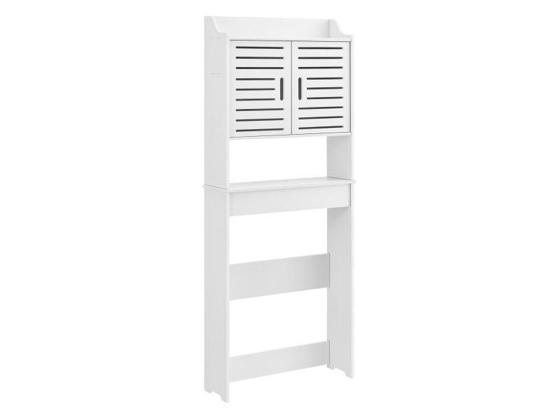 Meuble colonne de salle de bain stylé meuble de rangement à portes avec étagères bois composite 155 x 62 x 20 cm blanc [en.casa]