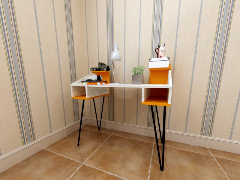 Bureau design truck motif bois vieilli blanchi et orange vente