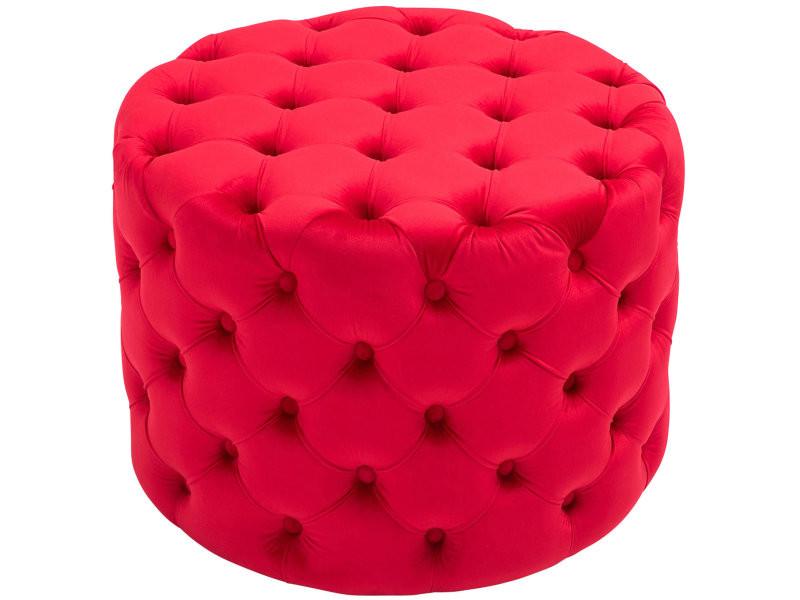 Tabouret bas pouf style chesterfield drancy en velours , rouge/l