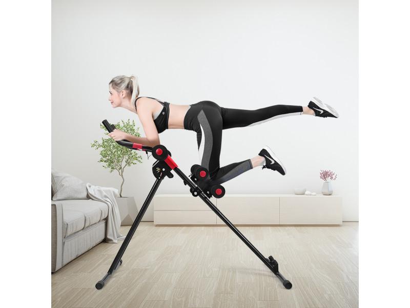 Giantex appareil à abdominaux pliable 4 résistance réglable avec ecran lcd rembourrage en mousse roues flexibles noir charge 100kg