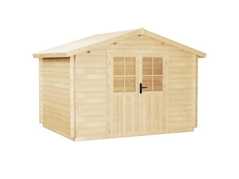 Vidaxl abri de jardin pour bûches de bois 28 mm 3,1 x 3 m bois massif 43787