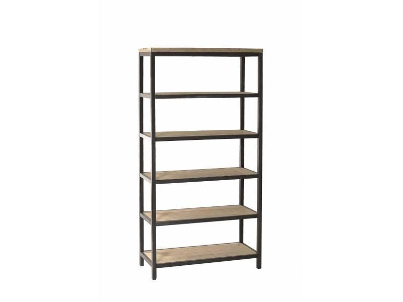Bibliothèque industrielle 5 niveaux lea en bois et métal 20100858826