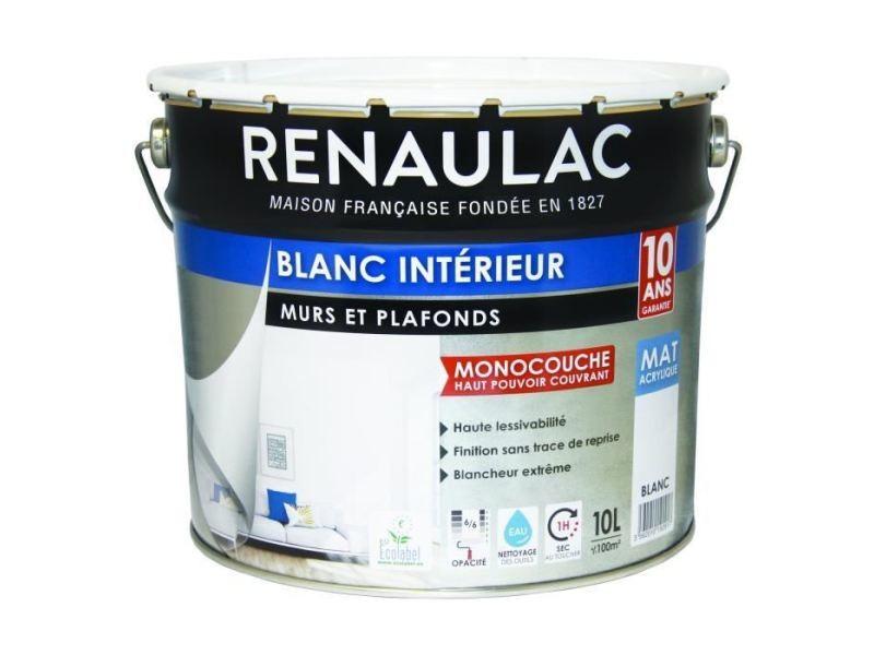 Peinture - vernis - traitement (lasure - effets decoratifs) peinture murale monocouche 10 l mat blanc extreme -