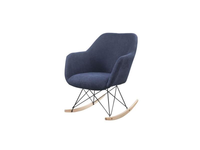 Mensh Fauteuil A Bascule Rocking Chair Tissu Bleu Marine Pieds